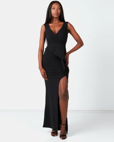 City Goddess London Folded Peplum Maxi Dress Black