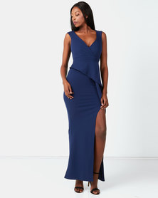 City Goddess London Folded Peplum Maxi Dress Navy