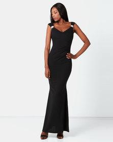 City Goddess London Shoulder Detailed Maxi Dress Black