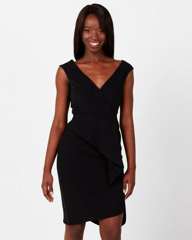 City Goddess London Folded Peplum Midi Dress Black