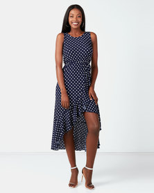 City Goddess London Polka Dot High Low Maxi Dress Navy