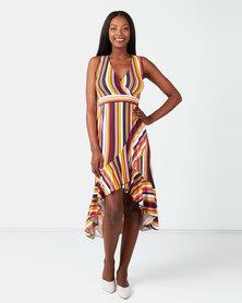 City Goddess London Stripe High Low Maxi Dress Multi