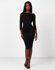 City Goddess London Fitted Midi Dress with Scalloped Lace Neckline Black