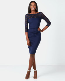 City Goddess London Fitted Midi Dress with Scalloped Lace Neckline Navy