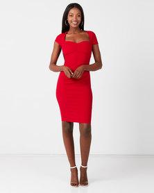 City Goddess London Heart Neck Midi Dress Red
