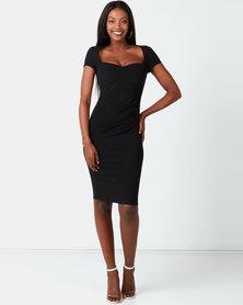 City Goddess London Heart Neck Midi Dress Black