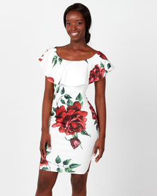 City Goddess London Floral Bardot Floral Print Midi with Frill Red