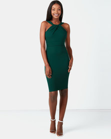City Goddess London Pleated Neckline Midi Dress Emerald