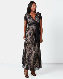 City Goddess London Scalloped Hem Lace Maxi Dress Black