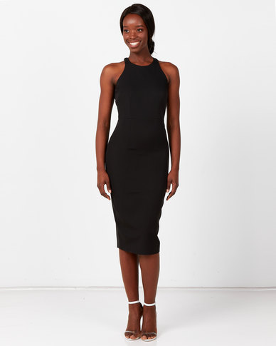 City Goddess London Bow Back Midi Dress Black