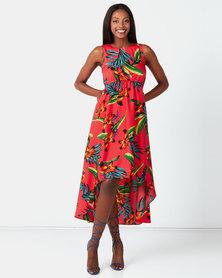City Goddess London Tropical Print High Low Dress Muliti