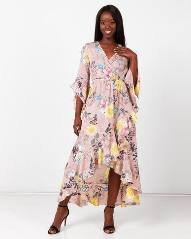 City Goddess London Floral Print Wrap Maxi Dress Pink