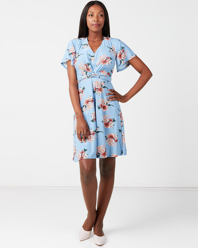 City Goddess London Floral Print Tea Dress Blue
