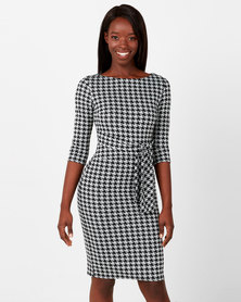 City Goddess London Belted Houndstooth Print Midi Dress Multi