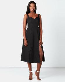 City Goddess London Strap Tea Dress with Slits Black