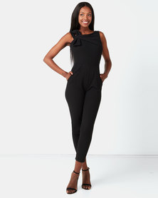 City Goddess London Bow Front Jumpsuit Black