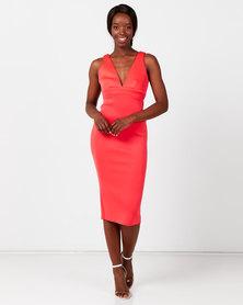 City Goddess London Hotpink Bow Back Midi Dress Coral