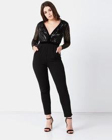 City Goddess London Deep V Neck Sequin Embroidered Jumpsuit Black