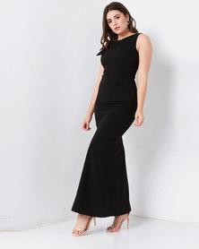 City Goddess London Side Shoulder Bow Maxi Dress Black