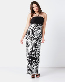City Goddess London Halter Neck Print Maxi Dress White