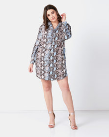 City Goddess London Snake Print Shirt Dress Multi