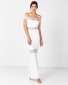 City Goddess London Bardot Fishtail Maxi Wedding Dress White