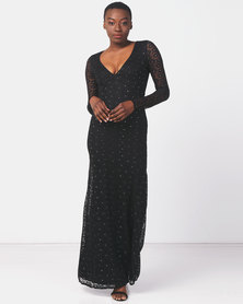 City Goddess London Deep V Lace Maxi with Keyhole Back Black