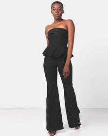 City Goddess London Strapless Peplum Bell Bottom Jumpsuit Black