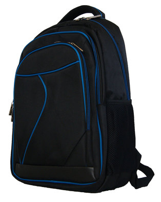 "Fino 15"" Laptop Backpack With Blue Piping -BLACK/BLUE"