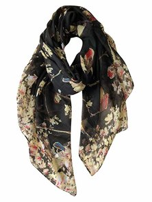 KONEKT SHOP Scarfs for Women Lightweight Shawl Head Wraps Floral Birds Print Black