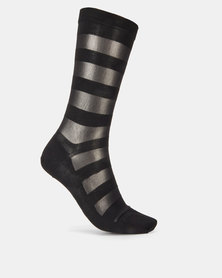 Falke Sheer Stripe Ladies Anklet Socks Black