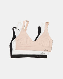 Boody Eco Wear Shaper Crop Bra Black,White and Nude - 3 Pack