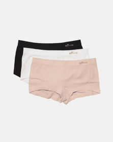 Boody Eco Wear Boyleg Brief Black, White and Nude - 3 Pack
