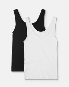 Boody Eco Wear Tank Top Black and White - 2 Pack