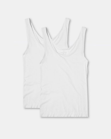 Boody Eco Wear Tank Top White - 2 Pack