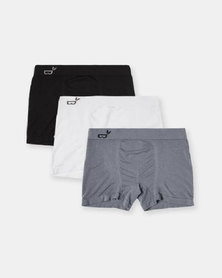 Boody Eco Wear Boxers Black, White and Grey - 3 Pack