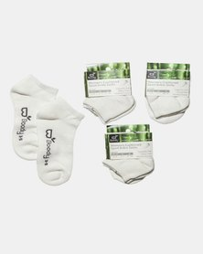 Boody Eco Wear Sport Ankle Socks White, 3 Pack: Size 3-9