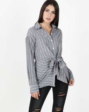 cee4026288146 Utopia Grey Front Tie Shirt