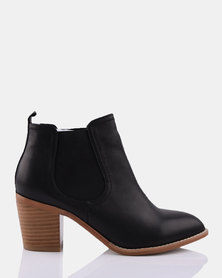 Julz Betty Leather Black V Elastic Ankle Boots