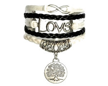 Urban Charm Infinity Bracelet with Love Infinity and Ornate Dangly Tree Charm - Black, White