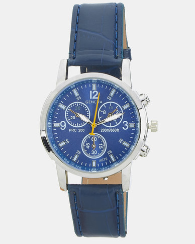 Miss Maxi Faux Croc Watch Blue