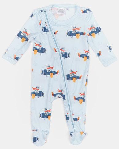 Home Grown Bears Soft-Stretch Zipper Jumpsuit Blue