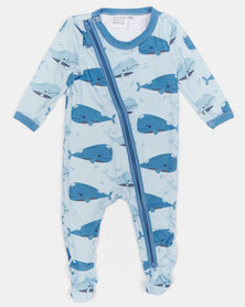 Home Grown Whale Soft-Stretch Zipper Jumpsuit Blue