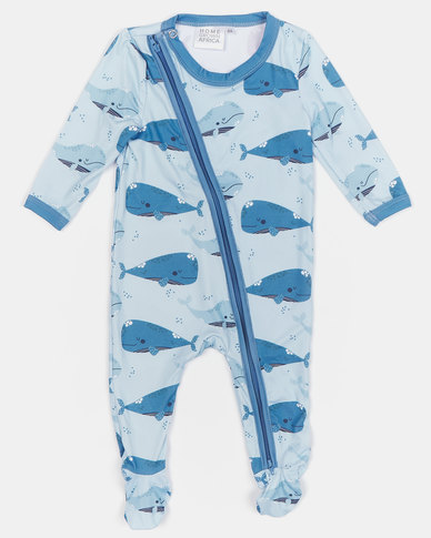 Home Grown Whale Soft-Stretch Zipper Jumpsuit Blue