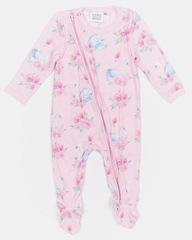 Home Grown Swan Soft-Stretch Zipper Jumpsuit Pink