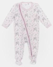 Home Grown Owl Soft-Stretch Zipper Jumpsuit Pink