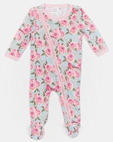Home Grown Bird Rose Soft-Stretch Zipper Jumpsuit Pink