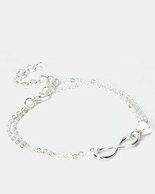 Utopia Infinity Heart Bracelet Silver-tone