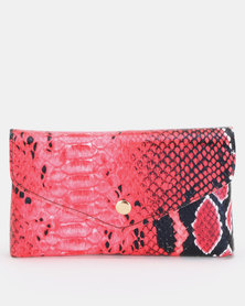 Utopia Snake Skin Belt Bag Red/Black