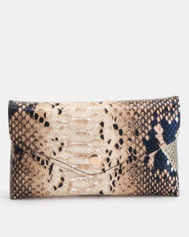 Utopia Nude/Black Snake Skin Belt Bag
